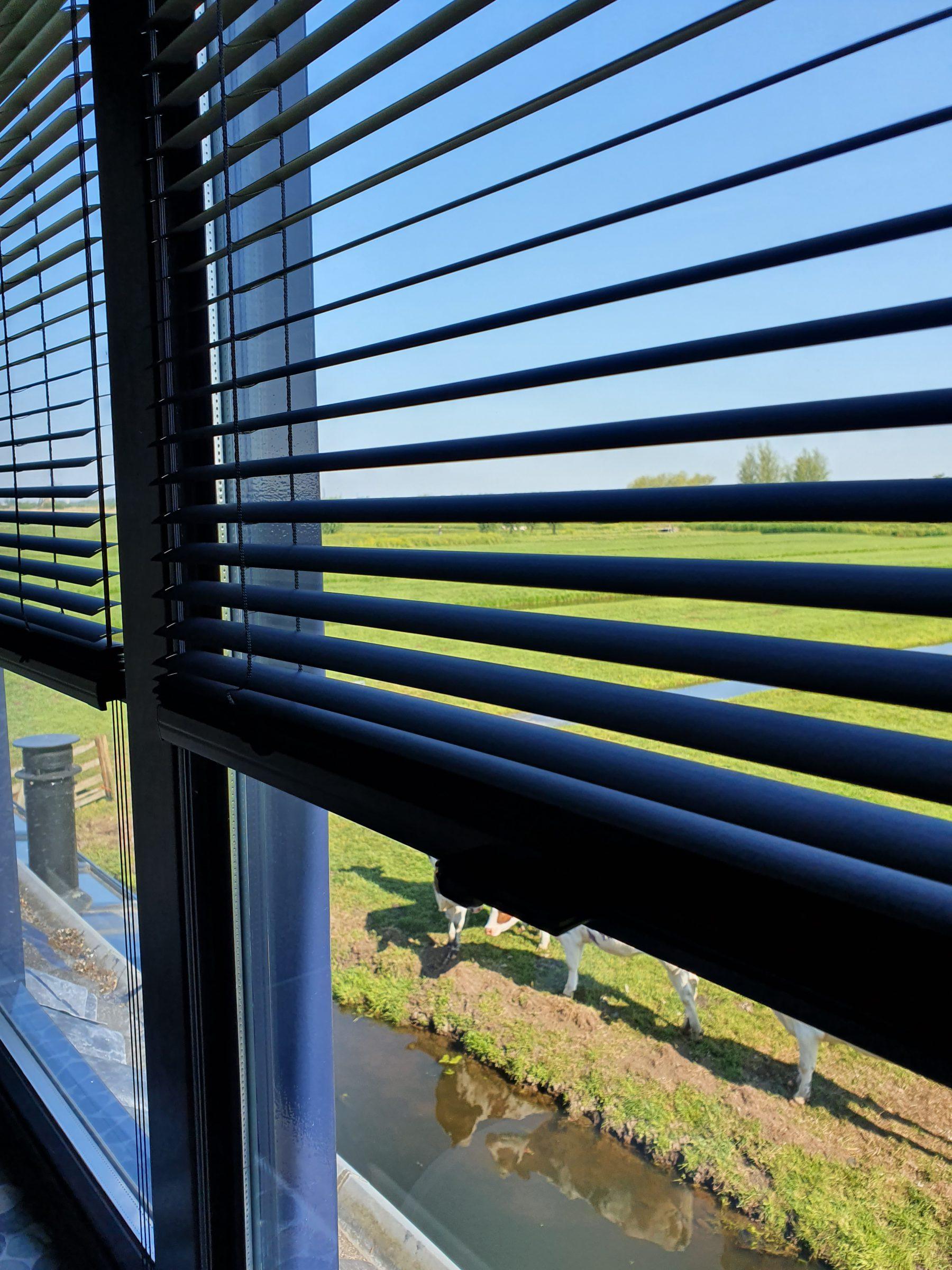 Raamdecoratie - Montage horizontale jaloezieen op het raam